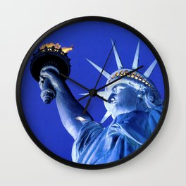 The Statue of Liberty by Kathy Morton Stanion Wall Clock
