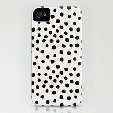 Preppy brushstroke free polka dots black and white spots dots dalmation animal spots design minimal iPhone (4, 4s) Slim Case