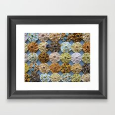 Quilted Yoyos in Yellow pattern by robayre Framed Art Print