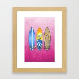 Pink Born To Surf Framed Art Print