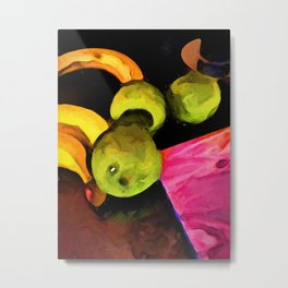 Green Apples on an Angle with a Pink Board Metal Print