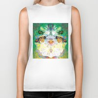clockwork Biker Tanks featuring Clockwork Butterfly by VivianLohArts