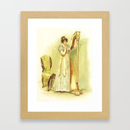 Harp, old book illustration, vintage poster Framed Art Print