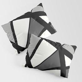 Geometric Line Abstract - Black Gray White Pillow Sham