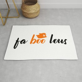 Fa boo lous - Happy ghost with saying for halloween Rug