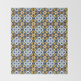 Yellow and Blue Moroccan Tile Throw Blanket