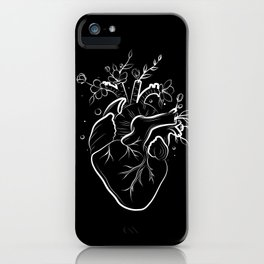 Human heart with flowers black iPhone Case
