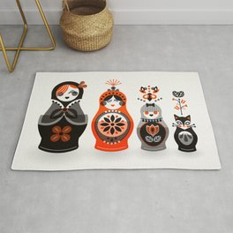 Russian Nesting Dolls – Red & Black Rug
