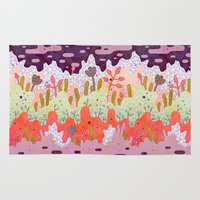 forest Area & Throw Rugs featuring Crystal Forest by LordofMasks
