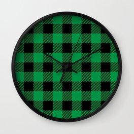 Plaid (green/black) Wall Clock