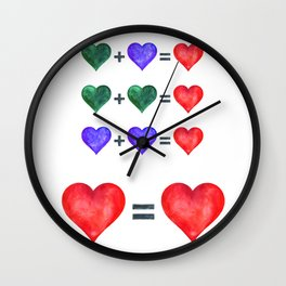 Love is love hearts pop art poster. Wall Clock