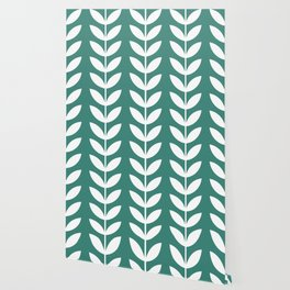 Green Blue and White Scandinavian leaves pattern Wallpaper