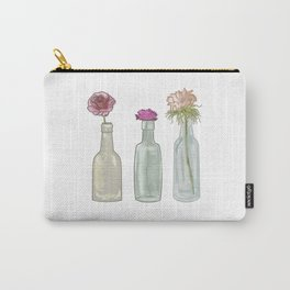 flowers in glass bottles . Pastel colors . Illustration / artwork Carry-All Pouch