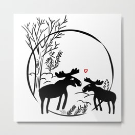 Moose in love Metal Print