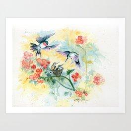 Hummingbirds Secret Garden Art Print