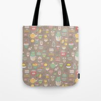 macaroon Tote Bags featuring Tea time by Anna Alekseeva kostolom3000