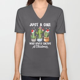 Just a girl who loves Cactus Christmas Unisex V-Neck