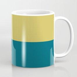 Dark Yellow and Tropical Dark Teal Inspired by Sherwin Williams 2020 Trending Color Oceanside SW6496 Horizontal Stripe Minimal Graphic Design Coffee Mug