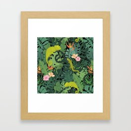 Chameleons And Salamanders In The Jungle Pattern Framed Art Print