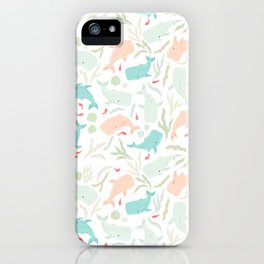 Pastel Whale Pattern iPhone Case
