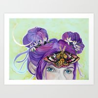 third eye Art Prints featuring Third Eye by Hannah Margaret Illustrations