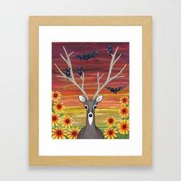 white tailed deer, bats, black eyed susans Framed Art Print