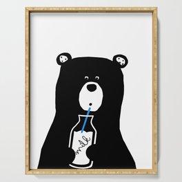 bear milk, blue,black, modern bear, milk, kids poster, bears, baby bear, love Serving Tray