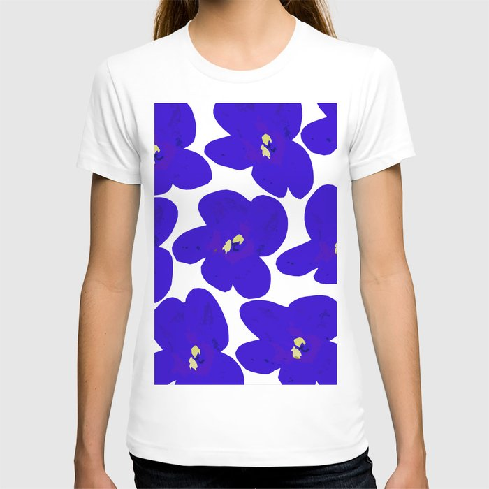 Blue Retro Flowers #decor #society6 #buyart T-shirt