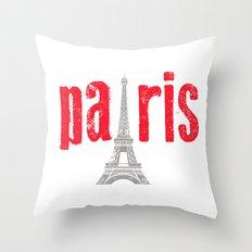 Paris Red Throw Pillow