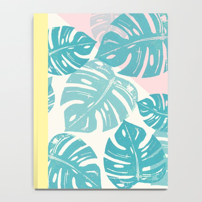 Linocut Monstera Rosy Notebook