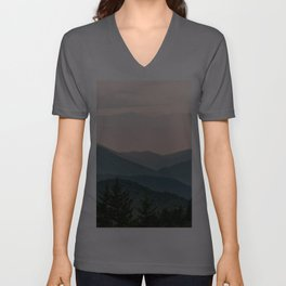 Smoky Mountain Pastel Sunset Unisex V-Ausschnitt
