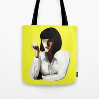 mia wallace Tote Bags featuring Mia Wallace by Clotilde Petit