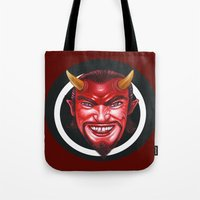 devil Tote Bags featuring Devil by Michael Forbes