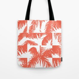 Palm Leaf Pattern Orange Tote Bag