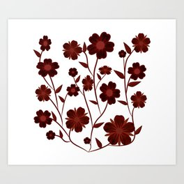 Deep Red Flowers  Art Print