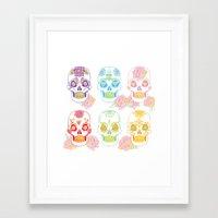 sugar skulls Framed Art Prints featuring Sugar Skulls by Bird & Bow Studios