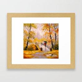 Walk in autumn after rain Framed Art Print