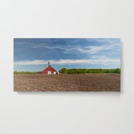 Red Farm Shed And Blue Sky Metal Print
