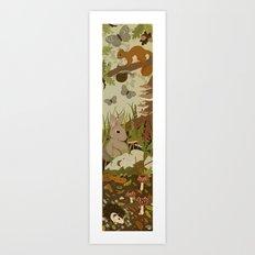 Woodland critters (sepia tone) Art Print