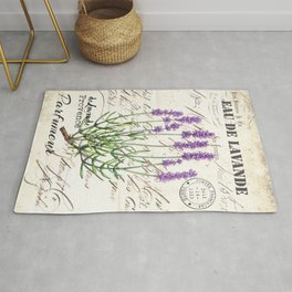 Lavender Antique Rustic Flowers Vintage Art Rug
