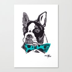 Bow Tie BostonTerrier - Blue Canvas Print