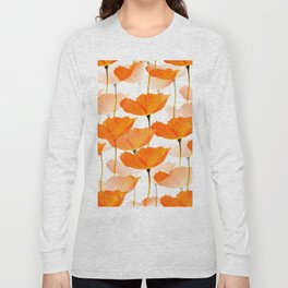 Orange Poppies On A White Background #decor #society6 #buyart Long Sleeve T-shirt