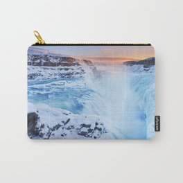 Frozen Gullfoss Falls in Iceland in winter at sunset Carry-All Pouch