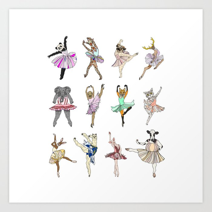 Animal Square Dance Art Print