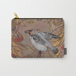 Waxwing Winter Feast Carry-All Pouch