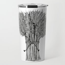 barley crop hand drawn doodle black and white Travel Mug