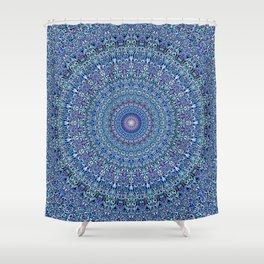 Blue Circle Garden Mandala Shower Curtain
