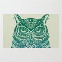 surreal Area & Throw Rugs featuring Warrior Owl by Rachel Caldwell