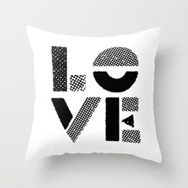 LOVE black-white contemporary minimalist vintage typography poster design home wall decor bedroom Throw Pillow