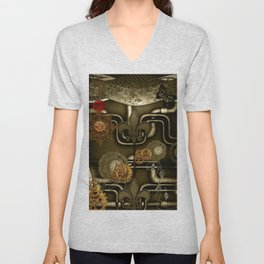 Wonderful noble steampunk design Unisex V-Neck